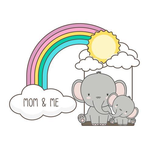 O elefante e o bebê balançam em um arco-íris. vetor