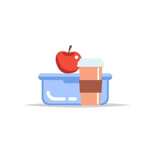 Lancheira - recipiente da refeição com copo de café e uma maçã. Refeição escolar, almoço infantil. Ilustração vetorial em estilo simples vetor