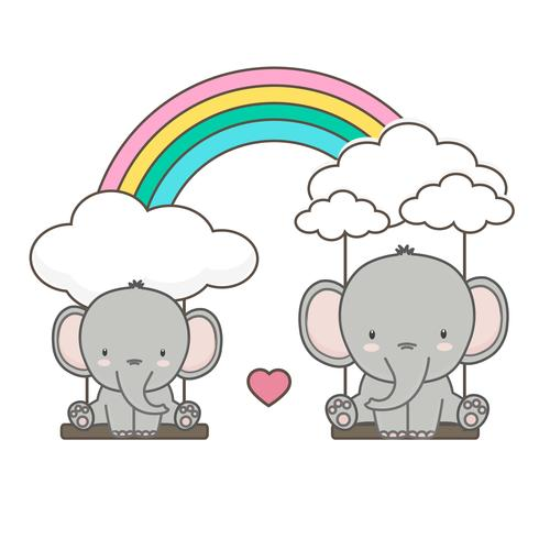 Éléphant et bébé se balancent sur un arc en ciel.