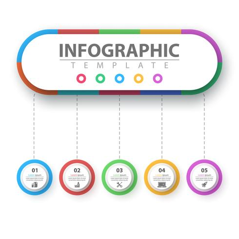 Infografía de negocios. Plantilla de origami de papel. vector