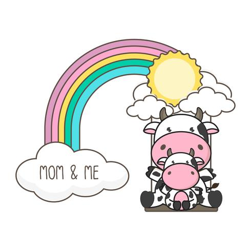 A vaca e o bebê balançam em um arco-íris. vetor