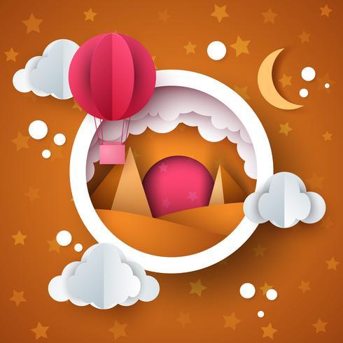 Paisaje de desierto de dibujos animados. Nube, globo aerostático, estrella, sol, luna. vector