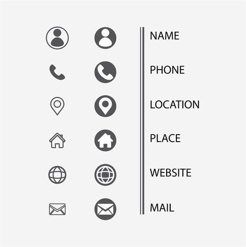 Conjunto de ícones de cartão de visita. Símbolos mínimos de vetor. ilustração - Vector