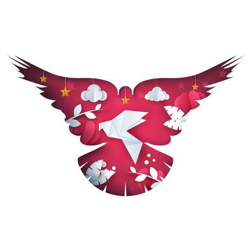 Ilustración de la paloma. Paisaje de papel de dibujos animados. Corazón, amor, nube, icono de estrella.