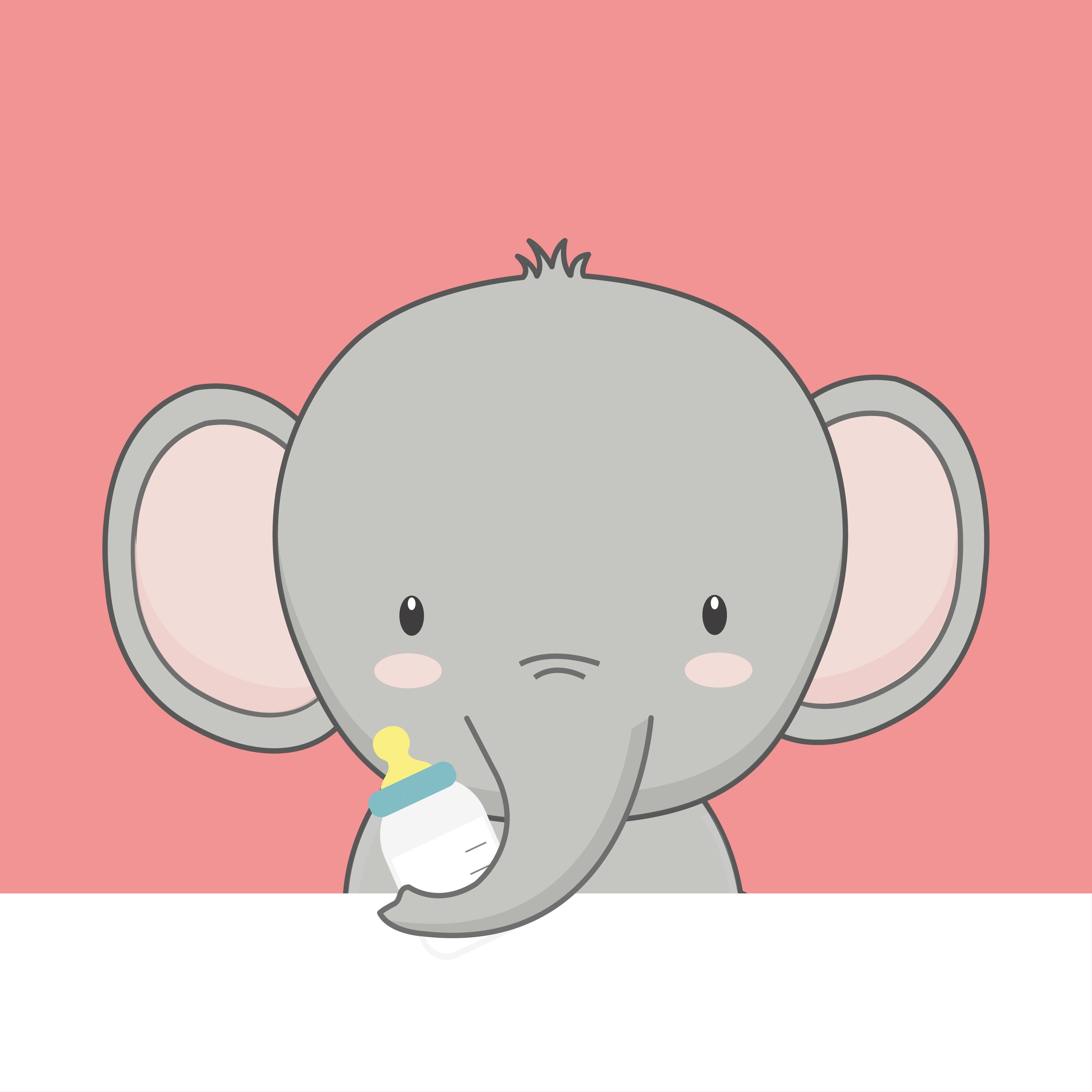 Cute cartoon baby Elephant. - Download Free Vectors ...