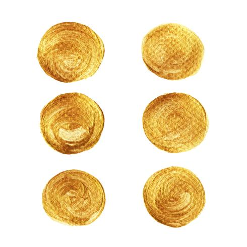Gold circle paint collection isolated on white background