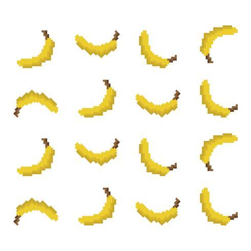 motivo a banana pixel vettore
