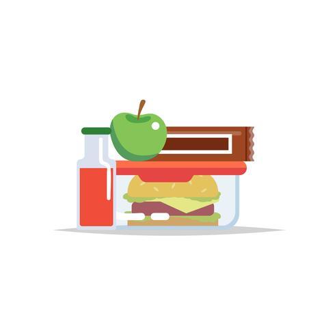 Lunchbox - måltidsbehållare med hamburgare, äpple, chokladkaka och en juice. Skolmåltid, barnens lunch.