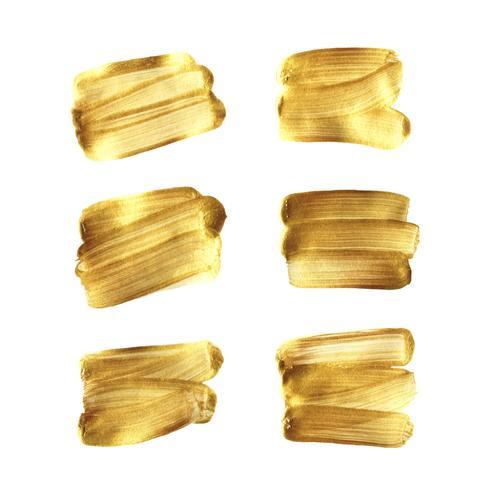 Gouden borstelhand geschilderde reeks die op witte achtergrond wordt geïsoleerd