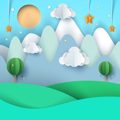 paisaje de papel de dibujos animados. Montaña, nube, estrella, árbol, sol.