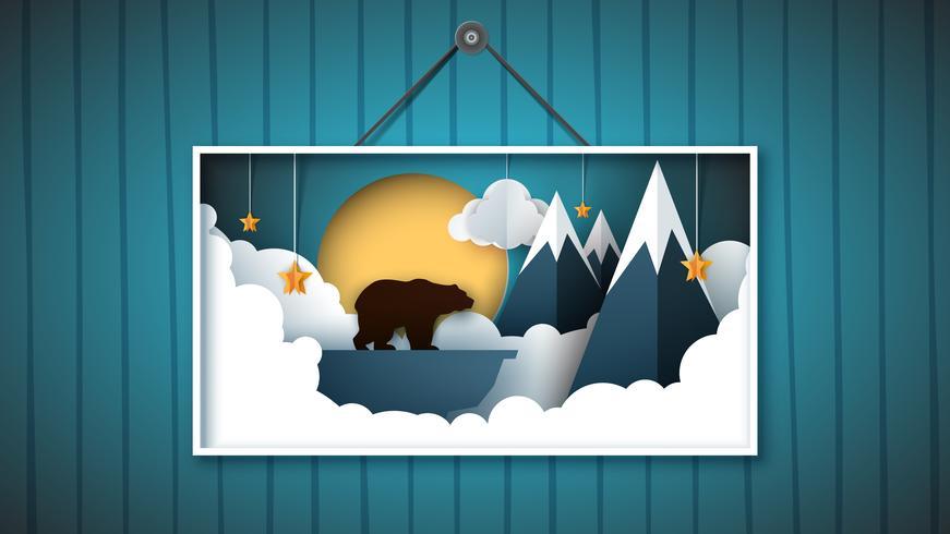 A imagem é um urso no norte entre as montanhas.
