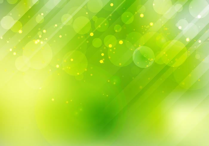 O bokeh verde abstrato da natureza borrou o fundo com alargamento e iluminação da lente. vetor