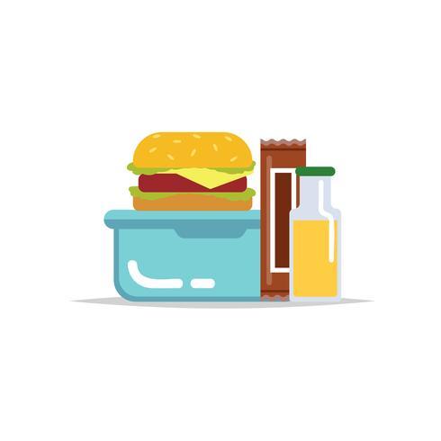 Lancheira - recipiente de refeição com hambúrguer, barra de chocolate e um suco. Refeição escolar, almoço infantil.