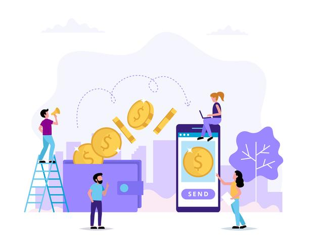Transferência de dinheiro, envio de dinheiro da carteira para smartphone. Personagens de pequenas pessoas fazendo várias tarefas