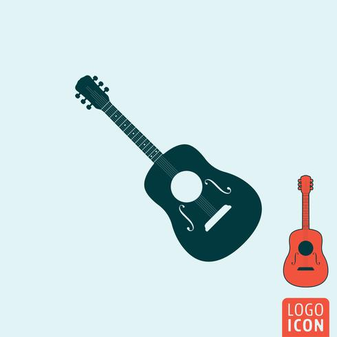 Ícone de guitarra isolado vetor