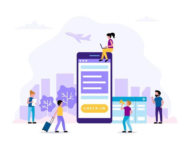 Check-in, ilustração do conceito com smartphone, cartão de embarque. Pequenas pessoas fazendo várias tarefas. Vetor