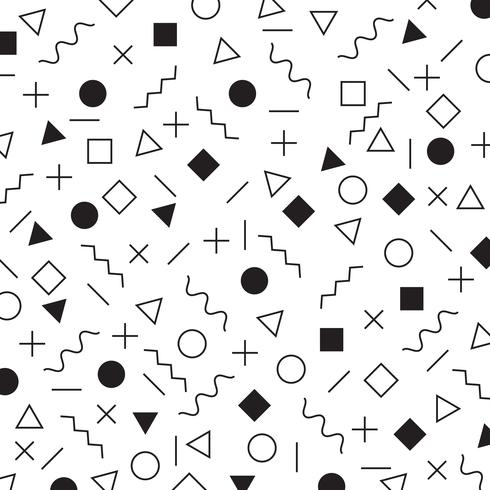 Black and white geometric elements memphis style pattern the era 80's - 90's years background.