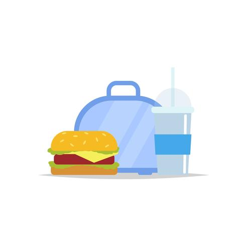 Lunchbox - meal container with hamburger and a drink. School meal, children's lunch. Vector illustration in flat style