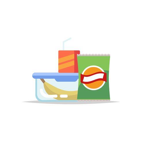 Lancheira - recipiente de refeição com banana, batatas fritas e um suco. Refeição escolar, almoço infantil. Ilustração vetorial