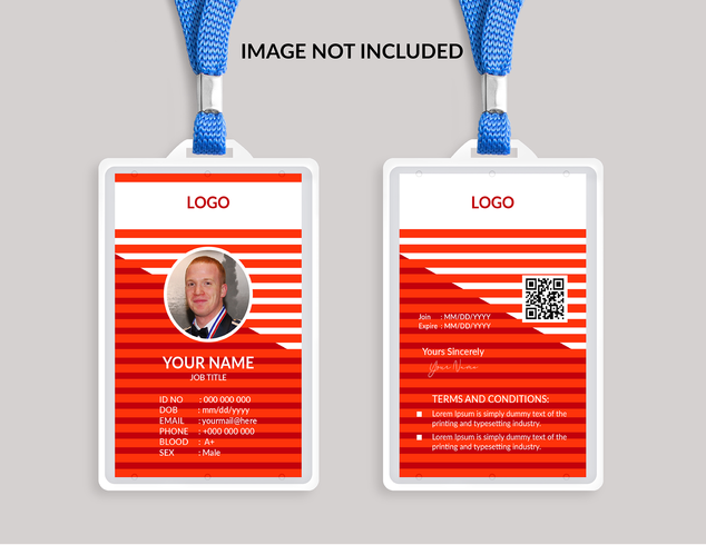 Modelo de cartão de identificação vermelho incrível vetor