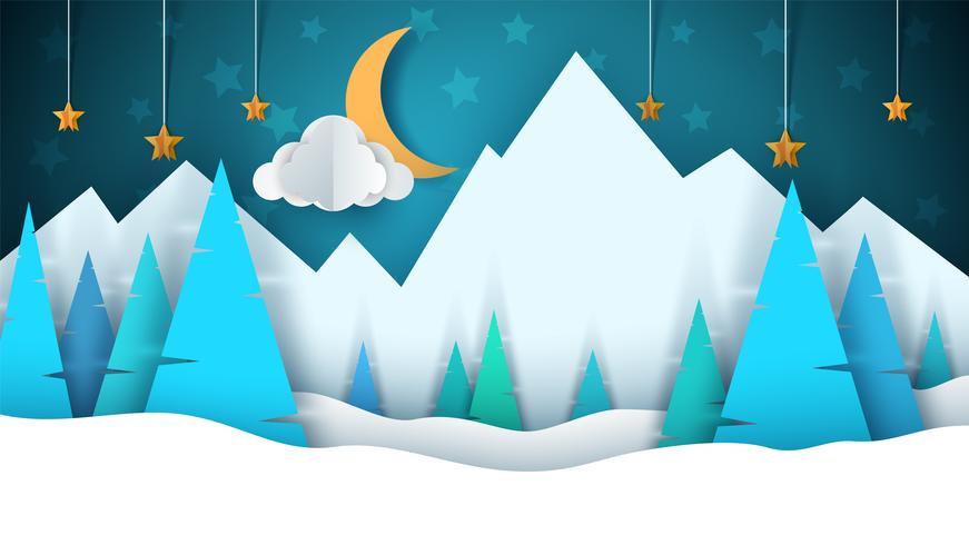 Paisagem de papel de desenhos animados de inverno. Feliz Natal Feliz Ano Novo. Abeto, lua, nuvem, estrela, montanha, neve. vetor