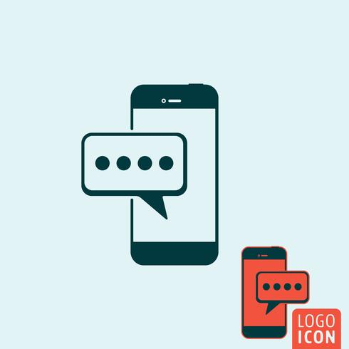 Mobile message icon isolated vector