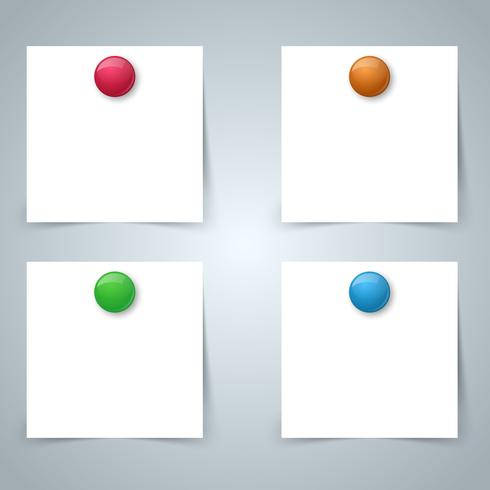 Quadratischer Papiermagnet - Geschäft infographic. Vier Gegenstände. vektor