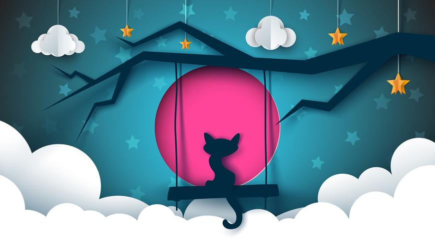 Ilustração de gato. Paisagem de noite dos desenhos animados. vetor