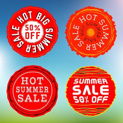 Selos de venda de verão, insígnias vetor