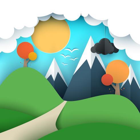 Papier reizen illustratie zon, wolk, heuvel, berg, vogel.