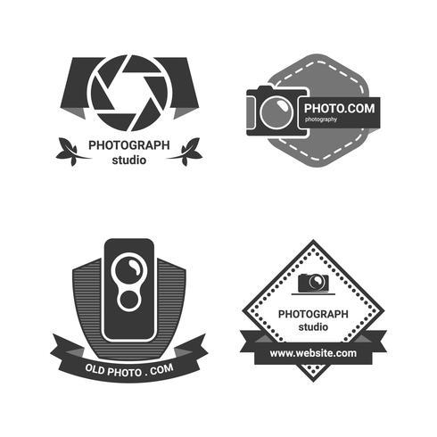 Monochrome camera-badge vector