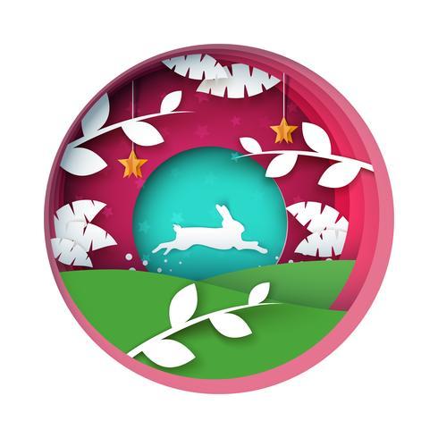 Kaninchen-Abbildung. Cartoon Papierlandschaft. vektor