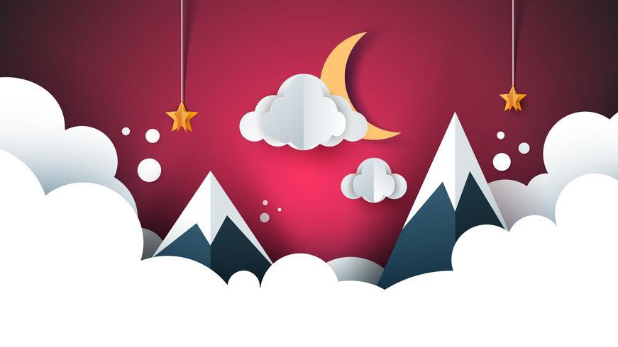 paisagem de papel dos desenhos animados. Montanha, nuvem, lua, estrela.