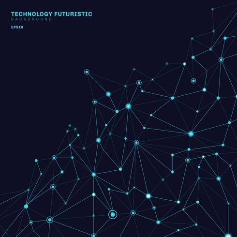 Abstrakte polygonale Formen auf dem dunkelblauen Hintergrund, der aus Linien und Punkten in Form von Planeten und Konstellationstechnologiekonzept besteht. Digitale Internetverbindung.