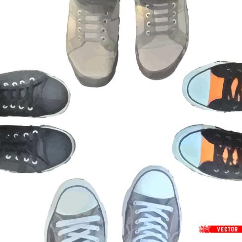 Cartoon sneakers on white background