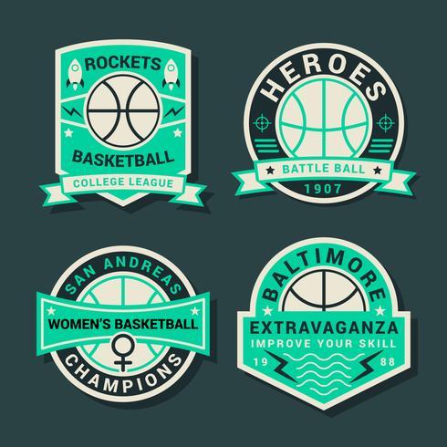 Emblema do torneio de basquete vintage vetor