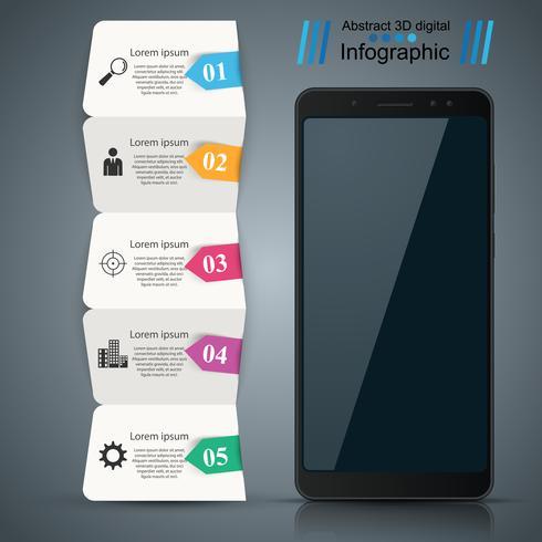 Gadget digital, smartphone. Infográfico de negócios. vetor
