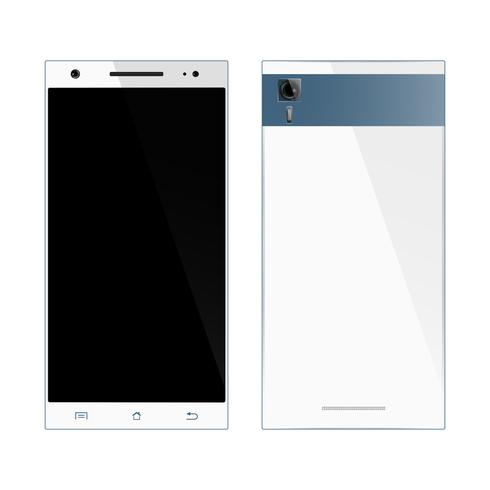 White smartphone front, back view