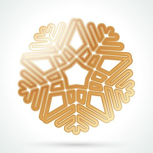 Icono de copo de nieve de oro vector