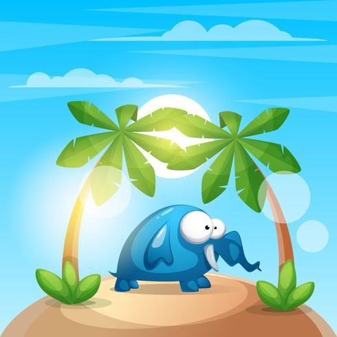 Netter, lustiger Elefant - Karikatur charater Illustration.