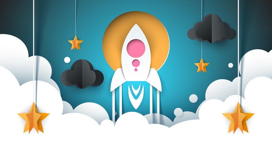 Illustrazione di paesaggio di carta dei cartoni animati. Razzo, stella, nuvola, cielo.