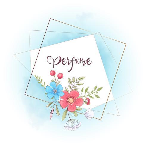 Aquarellschablone für eine Geburtstagshochzeitsfeier mit Blumen und Raum für Text. Handzeichnung. Vektor-illustration