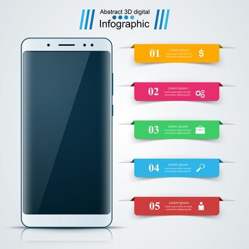 Digital gadget, smartphone. Business infographic.