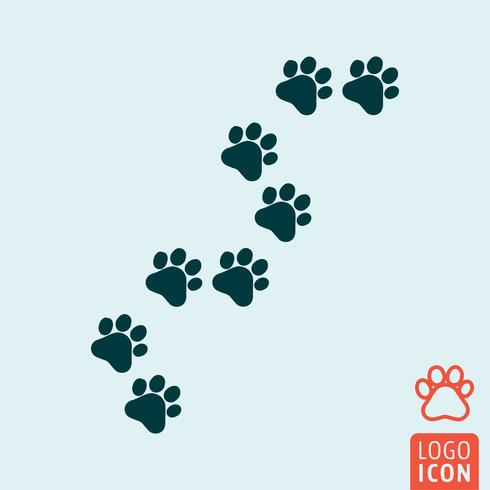 Cat paw icon isolated.
