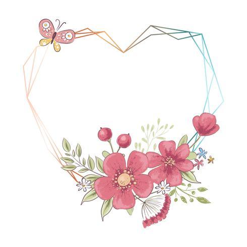 Akvarellmall för en födelsedagsbröllopsfest med blommor och plats för text. Handritning. Vektor illustration