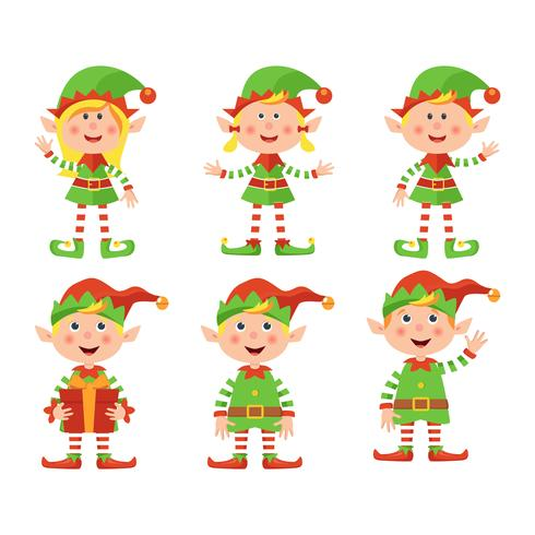 Set of cute little Christmas girls and boys elf smiling, vector illustration isolated on white background.