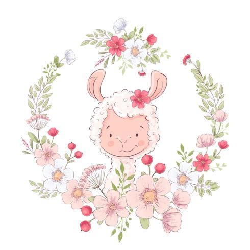 Affiche de carte postale lama mignon dans une gerbe de fleurs. Dessin à main levée. Vecteur