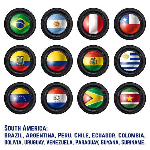 Südamerika-Flaggen vektor
