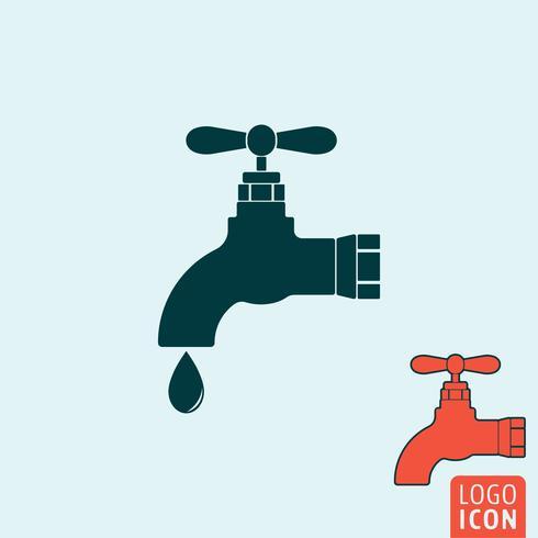 Água, torneira, ícone, isolado