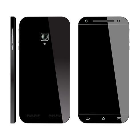 Smartphone noir avant, vue arrière vecteur